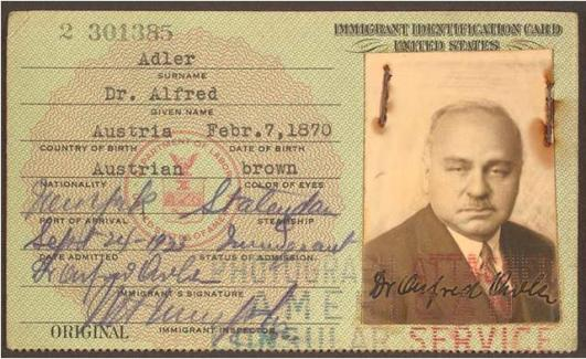 Adler's Immigration Card